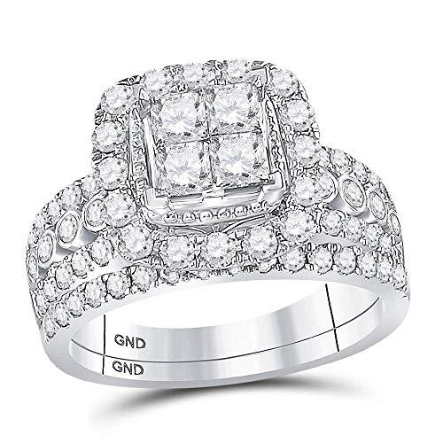 Diamond2Deal Anillo de boda de oro blanco de 14 quilates con diamantes de princesa, juego de 2 quilates