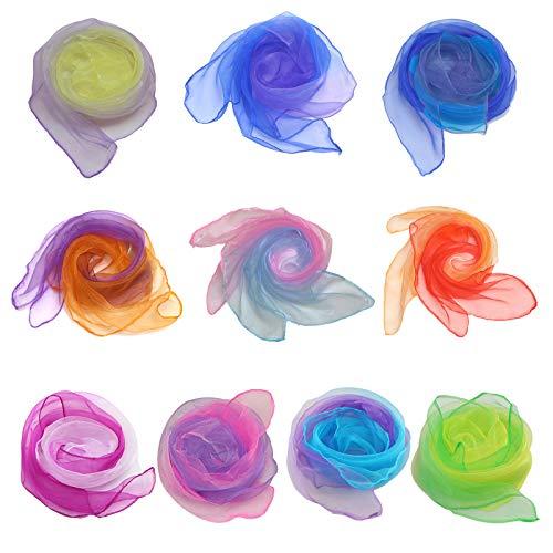 Chingde Tanzschals, 10 Stück Jongliertücher Gymnastiktücher Bunt Chiffon Tücher für Kindergarten Kinder Mädchen Party Aktivitäten Zubehör Dekoration, (55 x 60 cm)