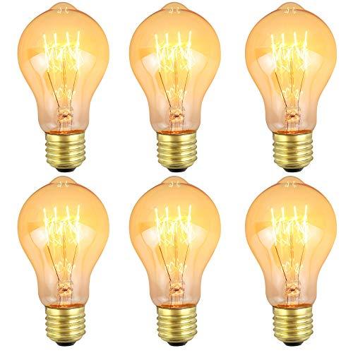 ZXNM Edison tungsteno bombilla Pequeña Tungsteno Tornillo E27 Clásico Bombillas 220v 4w Fuente de luz cálida Arte Decoración de iluminación antigua 6 piezas/paquete Ámbar