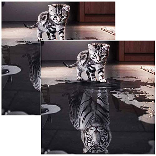 Cat Reflection Diamond Painting,QSXX 2 Pieces Crystal Rhinestone Embroidery Unique and Exquisite Cross Stitch Diamond Decoration for Home Wall Decor DIY 5D Diamond Painting Set 30x40cm