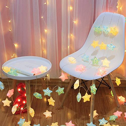 Raelf Luces de hadas estrella, luces LED agrietadas de estrella, luces de luz solar, luz blanca cálida, batería intermitente, decoración de boda, 40 LED 6 m Navidad y Halloween linterna