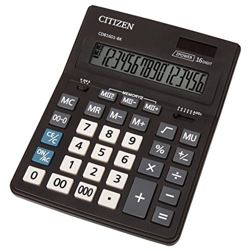 Citizen CMB 1601-BK Großer Taschenrechner, 16 Stellen, Solar und Batterie, Schwarz, 20,5 x 15,5 cm (TXB), 1 Stück
