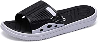 TONGDAUAE Slides for Men Beach Indoor Slippers Slip on Rubber Antislip Soft Outsole Breathable Perforated Summer Pool (Color : Black, Size : 45 EU)