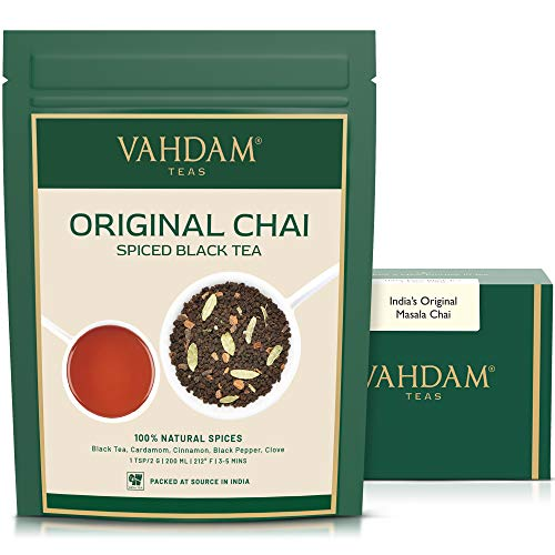 Tè Originale Masala Chai dell India, 200grammi (100 tazze) | Miscela perfetta di tè nero, cannella, cardamomo, chiodi di garofano e pepe nero | Brews Chai Latte | Chai Tea, the in foglie | Dall India