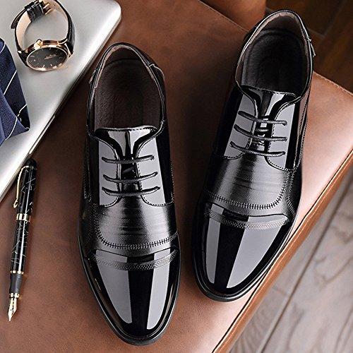Blivener Men's Pointed Toe Zip Dress Shoes Casual Oxford 05Black EU43