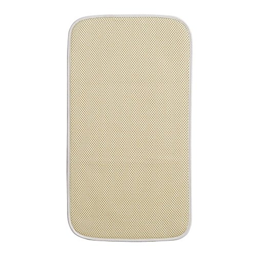 iDesign 40030 iDry Dish Drainer Mat, Small Quick-Drying Draining Board Mat, Made of Polyester, Wheat/Ivory