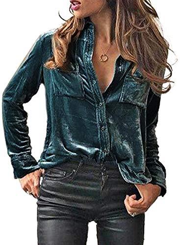 Sidefeel Women Retro Velvet Long Sleeve Button Down Shirt Solid Color Blouse Tops Large Green