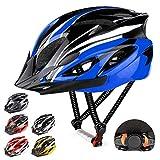 RaMokey Casco de bicicleta ligero, ajustable para bicicleta de montaña y carretera para adultos, 18 respiraderos con correa ajustable y visera desmontable para hombre y mujer(Azul + negro)