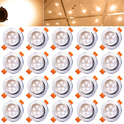 Hengda® 20x 5W LED Warmweiß Einbauleuchte Einbau Strahler Set Deckenstrahler Deckenlampe Energiespar 435LM mit Kabel Trafo