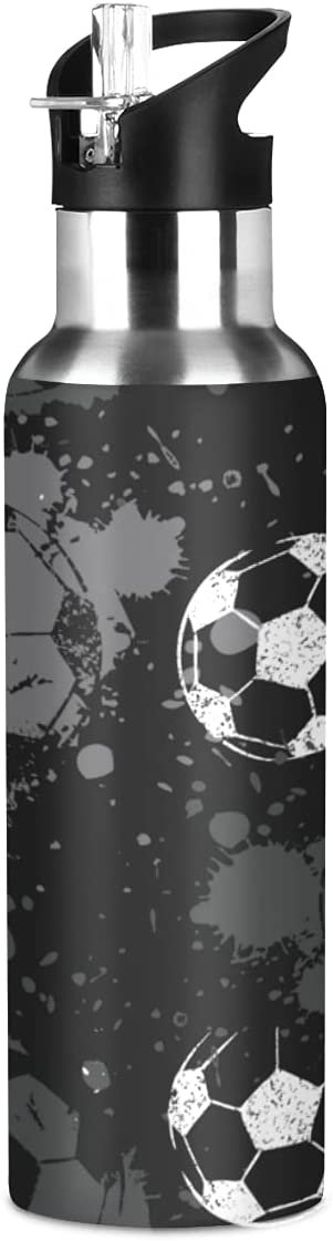 ADKing - Botella de agua deportiva con diseño de balón de fútbol de fútbol de 20 onzas para deportes a prueba de fugas, botella de agua sin BPA, acero inoxidable