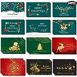 Liuer 24 Piezas Tarjetas de Navidad de 12 Modelos Tarjetas de felicitación en Blanco Tarjeta de Navidad para Familiares Amigos Adultos niños