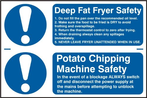 """Spectrum Industrial 0454""""Deep Fat Fryer Safety Potato Chipping Machine Safety Self Adhesive PVC Sign, Multi-Colour, 300 x 200 mm"""