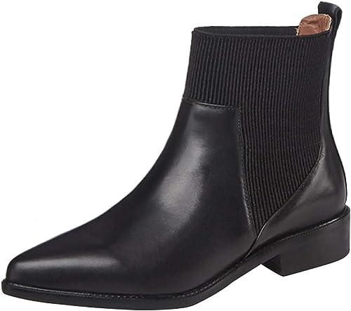ZHRUI Tête Pointue pour Femmes avec des Bottes Martin en Cuir, des Bottes Chelsea élégantes et Confortables (Couleuré   Noir 1, Taille   40EU)