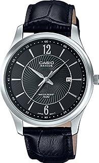ساعة BESIDE BEM-151L-1AVDF رسمية جلدية سوداء للرجال من كاسيو