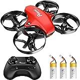Potensic Mini Drone A20 pour Enfants Hélicoptère avec 3 Batteries, Télécommandé 3 Vitesses Réglables, Maintien de l'altitude, Un Bouton de Décollage/Atterrissage Jouet Cadeau pour Débutants Rouge