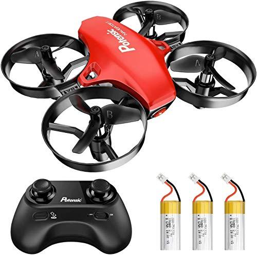 Potensic Mini Drone A20 pour Enfant Hélicoptère avec 3 Batteries, Télécommandé 3 Vitesses Réglables, Maintien de laltitude, Un Bouton de Décollage/Atterrissage Jouet Cadeau pour Débutants Rouge