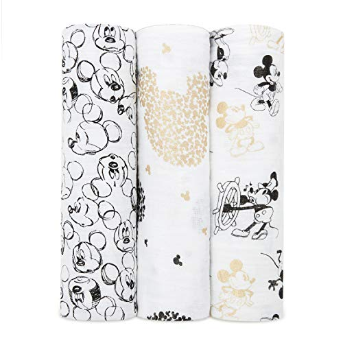 aden + anais Swaddle Blanket 3 Pack| Boutique 100% Muslin Blankets for Girls & Boys | Baby Receiving Swaddles | Ideal Newborn Swaddling Set | Perfect Shower Gifts | 120x120cm | Mickey's 90th