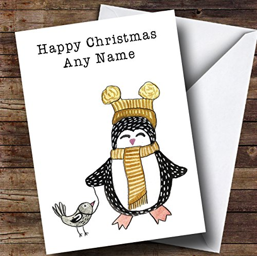 Pinguïn & Vogel Gepersonaliseerde Kinderen Kerstkaart