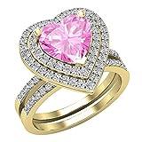 Dazzlingrock Collection Juego de anillos de compromiso de oro amarillo de 18 quilates con zafiro rosa y diamante blanco natural redondo de 8 mm, para mujer, talla 7,5