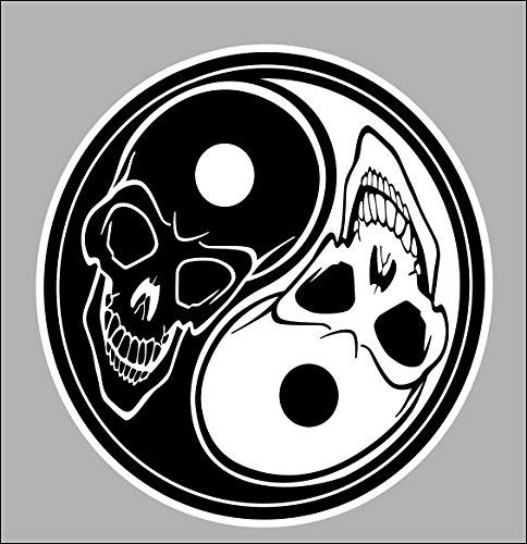 Yin Yang Skull Car Stickers Decals Waterproof Car Styling Bumper Stickers For Car Body Door Window Stickers Vinyl 5'
