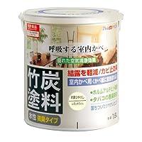 アトムハウスペイント 水性竹炭塗料 1.6L 炭調レモンホワイト