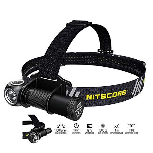 Nitecore UT32 Linterna Frontal - LED 1100 & 950 Lúmenes - Salida Dual - Luz Blanca Fría y Cálida, Linterna Cabeza Impermeable IP68 ([ Bateria Recargable USB Incluida ])