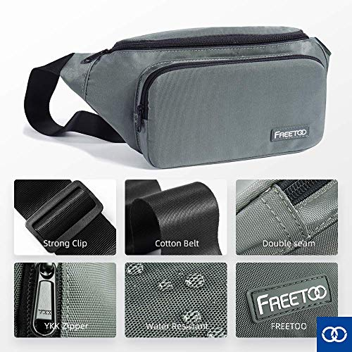 FREETOO Fanny Pack Waist Pack for Men Women, Waist Bag with Large Capacity, Bum Bag for Phones,Tablets Up to 7.9'',Suitable for Working,Walking,Traveling,Daily Use