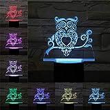 HDZBB 3D Led USB Owl Touch Remote Sleeping Animal Lamp Night Light Deocration Luminaria Niños Regalo de cumpleaños