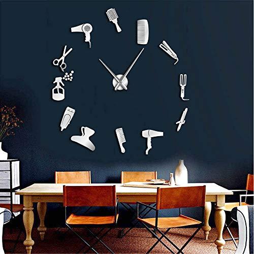 hysxm 27 inch Barber Shop Outils De Cheveux Surdimensionné Bricolage Horloge Murale sans Coiffure Salon Big Time Clock Mode Coiffeur Déco Définie par L'Utilisateur, Argent