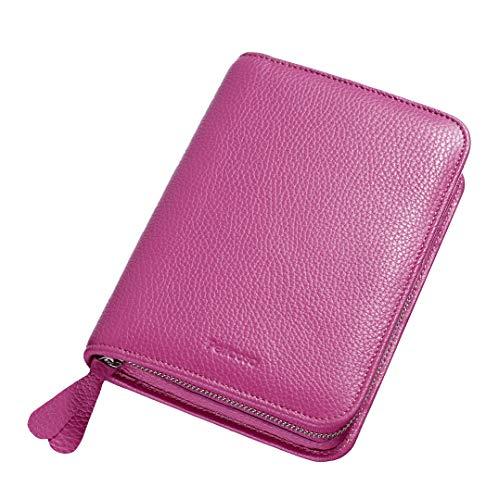 Pericosa Kosmetiktasche KATE groß aus Leder in pink mit Fächern für Damen | für unterwegs für die Reise | Luxus Schminktasche für Make up | Kosmetiktäschchen Kosmetikbeutel in chic rosa rosé
