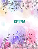Emma: 8.5x11 inches 110 Lined Pages 55 Sheet Peony Floral in Dream Design for Woman, girl, school, college with Lettering Name,Emma