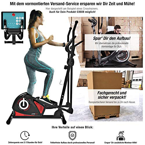 Sportstech CX608 Crosstrainer für Zuhause inkl. VORMONTAGE | Deutsches Qualitätsunternehmen | Video-Events & Multiplayer App | mit Bluetooth Konsole | Heimtrainer Ergometer inkl. Pulsgurt