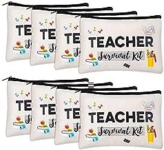 8 pieces Teacher Appreciation Gifts Makeup Pouch Music Teacher Gifts Cosmetic Bag Teacher Survival Kit Travel Toiletry Case Pencil Bag for Classroom Best Teacher Gifts Preschool Elementary High School