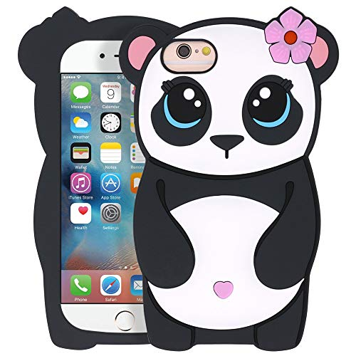 """YONOCOSTA iPhone 6 Case, iPhone 6S Case, Funny 3D Cartoon Cute Animals Panda Girl Shaped Soft Silicone Full Protection Shockproof Back Case Cover for iPhone 6 / 6S (4.7"""" Inch)"""