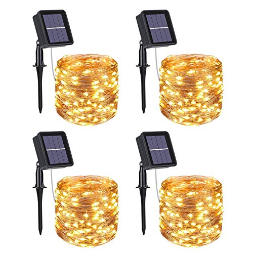 Flintronic Solar String Lights Outdoor, 4 Pack 100 LED Solar Fairy Lights 10M / 33ft Solar Garden Lights Waterproof 8 Modes Indoor/Outdoor Copper Wire Decorated Light for Christmas (Warm White)