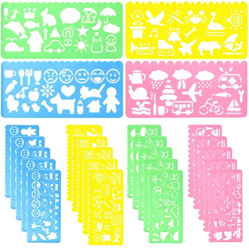 24 Pcs Plastic Drawing Stencils Set Colorful Drawing Scale Template DIY Crafts Set for Boys Girls with Animal Stencils - 6 Sets of 4 Different Stencils by STARVAST