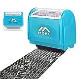 MoKo Sello Personalizado de Tipo de Rodillo, Sello Privado de Protección de Identidad, Sello Autoentintable Personalizado con Agujero de Tinta para Ocultar Información Privada y Confidencial, Azul