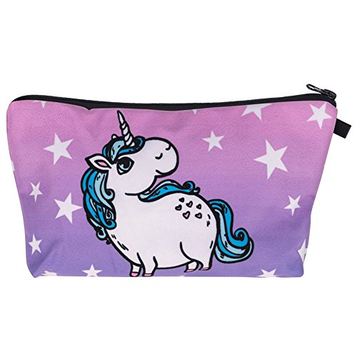 Cartoon Eenhoorn Handtas, 3D Bedrukte Toiletruimte Make-up Pouch, Pen Stationery Opbergtas voor School Meisjes Tienertje, Lichtgewicht Womens Leuke Cosmetische Schoonheid Clutch Tas voor Reizen & Feesten