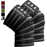 Zealspot Knee Wraps(Pair) Compression & Elastic Support for Cross Training,WODs,Gym, Workout,Weightlifting,Fitness &...