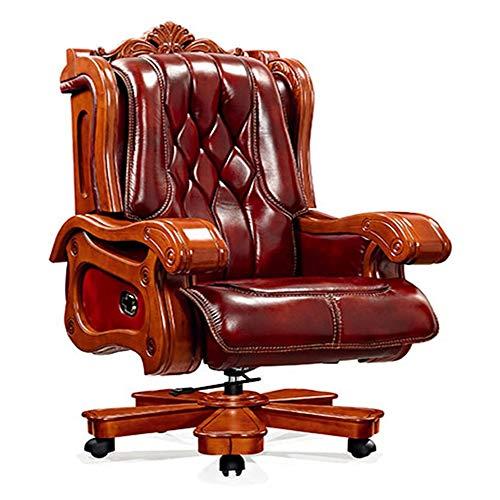 ZSAIMD Silla de la protuberancia, sillas de cuero Silla ejecutiva Ministerio del Interior reclinable Gerenciales giro de 360 grados del asiento ajustable con soporte lumbar cojín de la silla girator