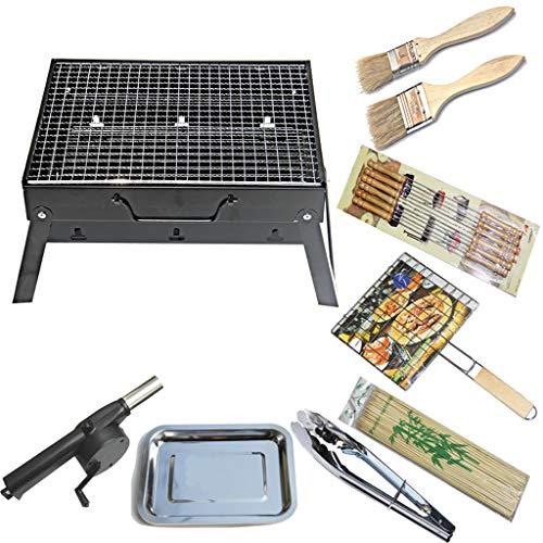 51re+WISH5L. SL500  - Grills Kochplatten Holzkohlegrill im Freien beweglichen Faltbarer Barbecue Gratis Maschendraht Grillzubehör (Size : M)