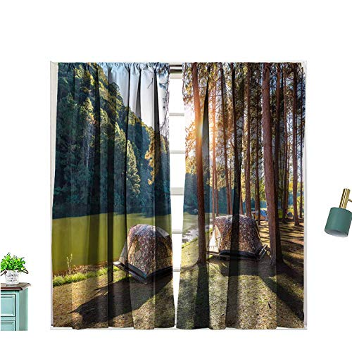 Hiiiman Rod Pocket Window Curtains Camping Tents Under Pine Trees with Sunlight at Pang 100% Blackout for Bedroom Living Room, W63 x L72