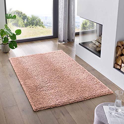 Teppich Wölkchen Shaggy-Teppich | Flauschiger Hochflor für Wohnzimmer, Kinderzimmer oder Flur Läufer | Einfarbig, Schadstoffgeprüft, Allergikergeeignet I Rosa - 80 x 150 cm