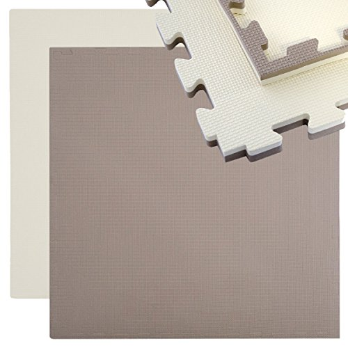 EYEPOWER Tappeto per Sport 90x90cm incl Bordo Tappetino Puzzle Estensibile in Morbida Eva 25mm di Spessore Double-Face Marrone Beige