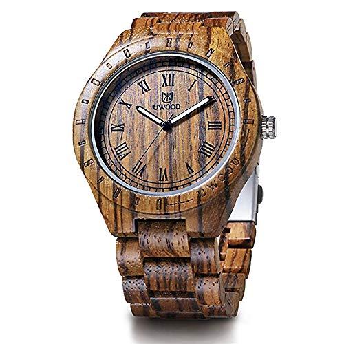 Relógio de madeira Uwood de luxo, marca de zebra, relógio de pulso de madeira para homens e mulheres, relógio de pulso analógico de quartzo de 46 mm (UW2075)