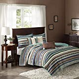 Madison Park Quilt Rustic Southwestern All Season, Breathable Coverlet Bedspread, Lightweight Bedding, Shams, Decorative Pillow, King/Cal King(104'x94'), Malone, Ikat Blue/Chocolate, 6 Piece