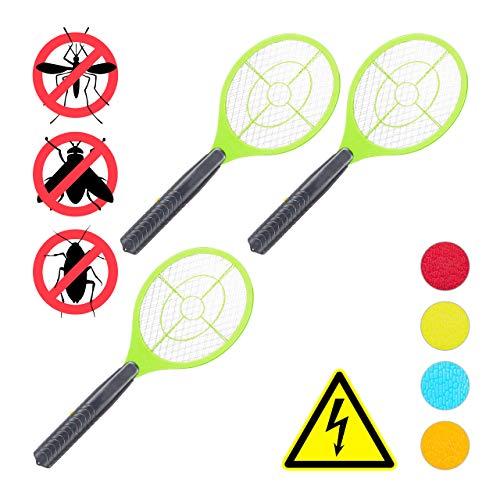 Preisvergleich Produktbild Relaxdays 3 x elektrische Fliegenklatsche,  ohne chemische Stoffe,  Fliegentöter,  gegen Fliegen,  Mücken & Moskitos,  Fly Swatter,  grün