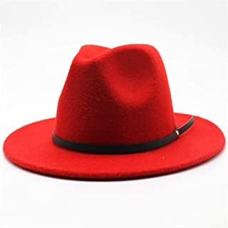 2019 Mens Womens Hats Womens Fashion Wool Polyester Fedora Hat for Women Lady Wide Brim Church Hat Autumn Jazz Hat Fascinator Travel Hat Casual Wild Hat Adjused Size (Color : Red, Size : 56-58)