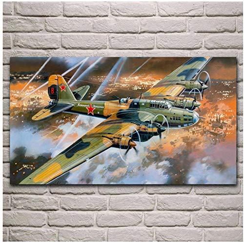 MULMF Ww2 Sovjet-vliegtuig Pe 8M Bomber kunstwerk woonkamer decoratie kunst decor canvas poster - 50X85 cm geen lijst