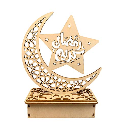 Chuanfeng Holz Eid Mubarak Moon Star Islam Anhänger Mit LED-Lichtern, Mond Sterne Vorhang Lichter Ramadan Licht...
